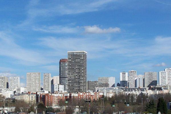Vue générale du quartier des Olympiades et d'Italie 13, vaste opération d'urbanisme engagée à Paris dans les années 1960.