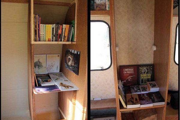 Intérieur de la caravane qui servira de la librairie itinérante
