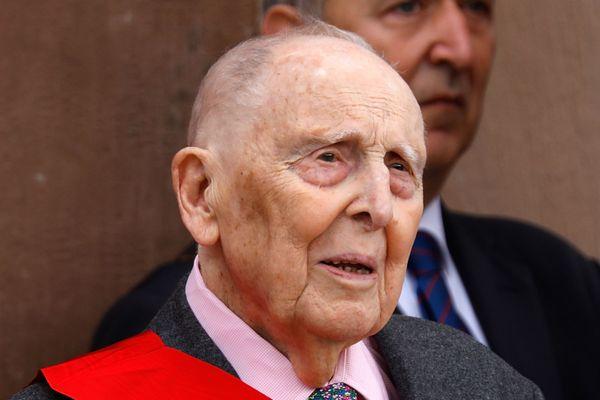 Le Résistant Daniel Cordier, secrétaire de Jean Moulin pendant la Seconde Guerre Mondiale, photographié le 18 juin 2018 lors d'une cérémonie d'hommage au Général de Gaulle.