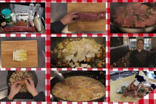 Les étapes de la recette du filet mignon aux chicons et speculoos