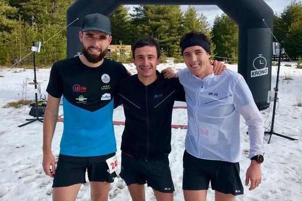 Noel Giordano, au centre, a remporté la 11e édition du trail blanc, au col de Vergio, dimanche 26 janvier.