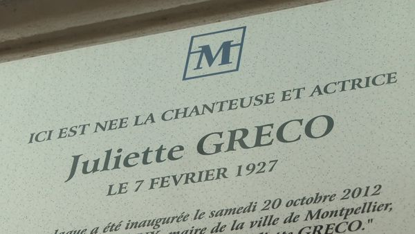 Une plaque en l'honneur de Juliette Gréco a été dévoilée en 2012 à Montpellier - septembre 2020