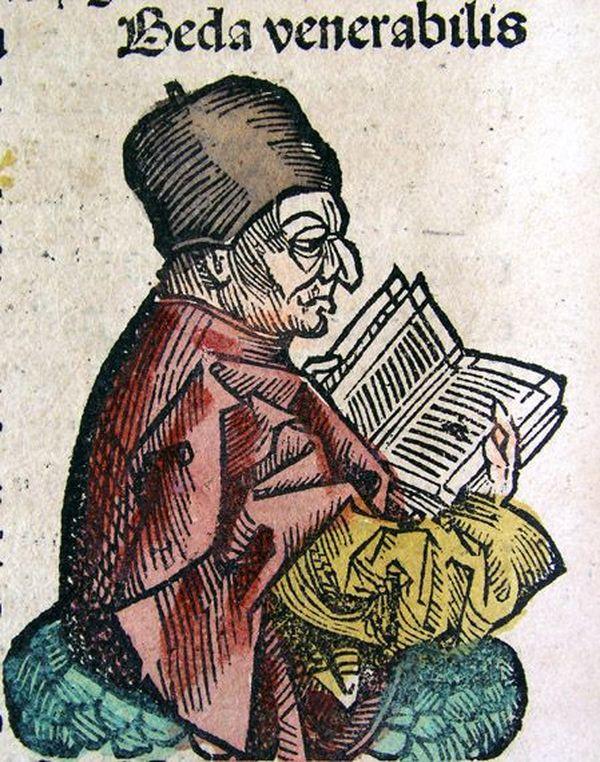 Illustration de Bède le Vénérable, tiré des Chroniques de Nuremberg, de 1493