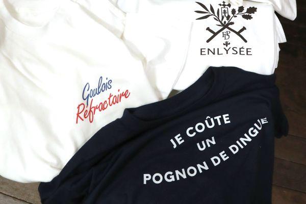 Le projet Enlysée utilise des phrases polémiques d'Emmanuel Macron pour en faire des vêtements ou des objets.