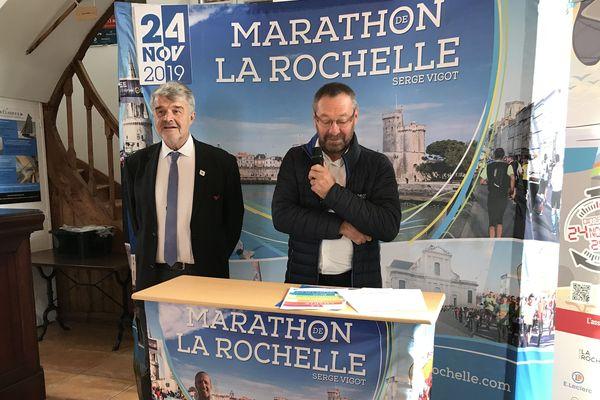 Jean-François Fountaine et Dominique Rougé lors de la présentation de la 29e édition du Marathon de La Rochelle.