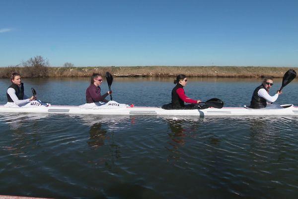 Les filles de l'équipe de France de kayak s'entraînent au Grau-du-Roi - février 2021.