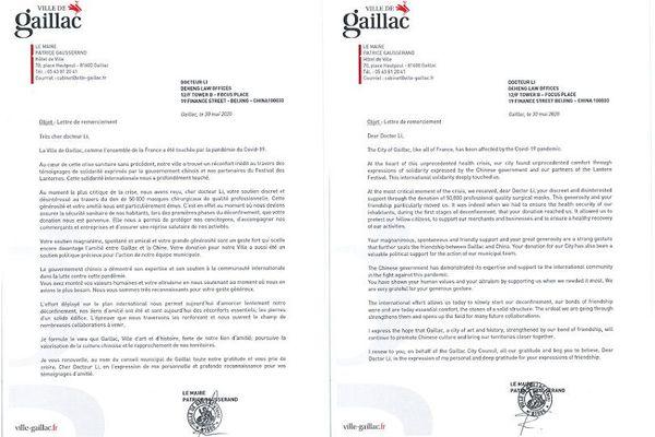 Lettres de remerciements envoyé par la mairie de Gaillac à l'un des avocats du cabinet DeHeng pour le don de 50 000 masques reçu par la commune tarnaise.