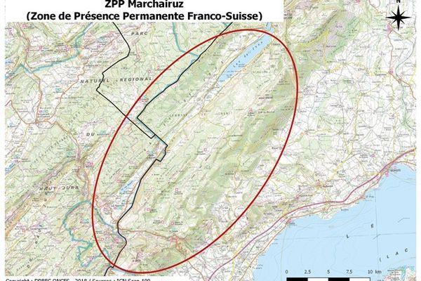 La zone de présence permanente du loup entre France et Suisse.