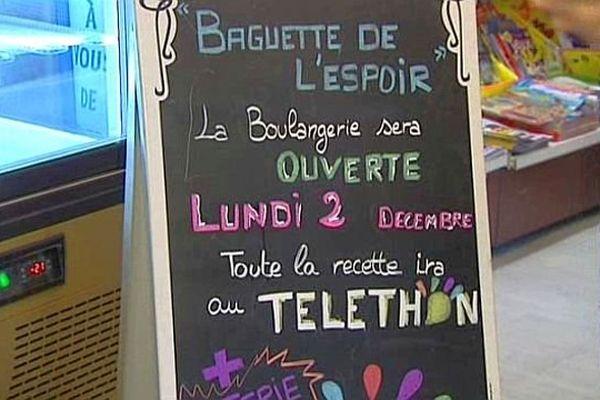 Balaruc-le-Vieux (Hérault) - la boulangerie ouvre pour le Téléthon - 2 décembre 2013.