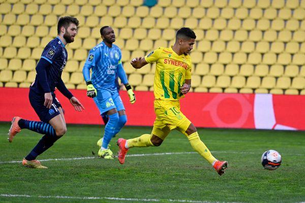 Ludovic Blas a ouvert le score pour le FC Nantes à la 50' lors de la 26e journée de Ligue 1 face à l'OM.