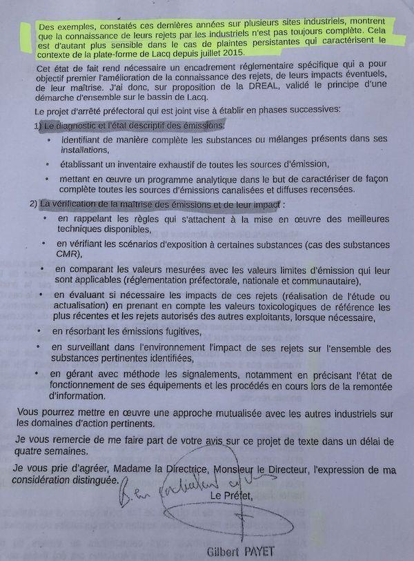 Lettre du Préfet prévoyant de dresser l'inventaire des rejets des industriels du Bassin de Lacq en Béarn