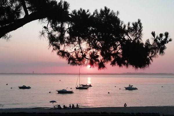 Coucher de soleil plage du Moulleau - Arcachon - Gironde (33)