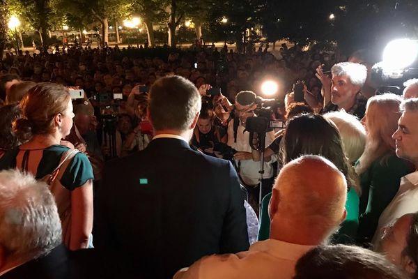 Montpellier - Michaël Delafosse, nouveau maire prend la parole devant le pavillon populaire - 28 juin 2020.