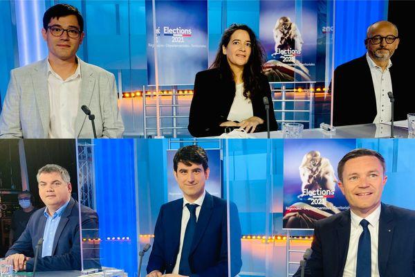Les invités pour le débat sur les élections départementales 2021 dans le Morbihan De g. à d. sur la première ligne : Régis Facchinetti, Sandrine Berthier, Damien Girard. De g. à d. sur la seconde ligne : Emeric Salmon, Guillaume Auffret, David Lappartient.