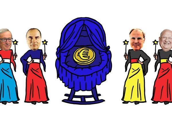 Les créateurs politiques de l'euro. Selon l'institut Montaigne, notre monnaie pourrait perdre 15% de sa valeur en cas de retour au franc.
