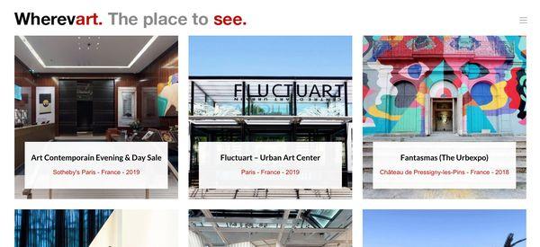 Capture du site Wherevart où sont référencées les visites virtuelles de musées du monde entier