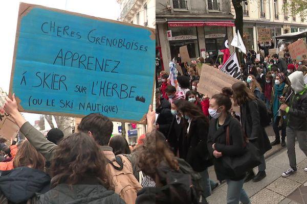 Les manifestants pour le climat vendredi 19 mars à Grenoble.