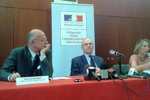 Carcassonne - Conférence de presse des 2 préfets des régions Languedoc-Roussillon et Midi-Pyrénées pour l'annonce de la répartition des services de l'Etat - 31 juillet 2015.