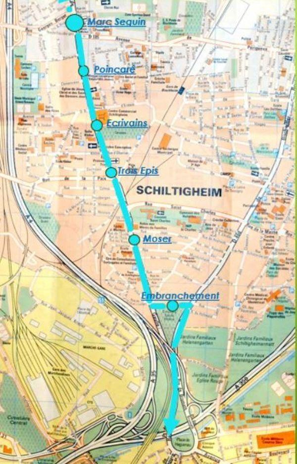 Le tracé souhaité par le collectif, longeant Schiltigheim et Bischheim par l'ouest