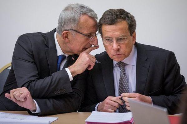 Guillaume Pepy, président directeur général de la SNCF et Jacques Rapoport, président directeur général de la SNCF réseau le 18 février au Ministère des Transports.