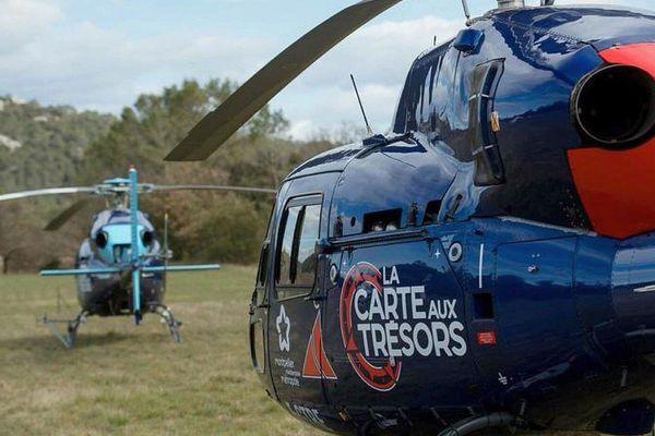 Les hélicoptères de La Carte aux trésors, jeu de France 3, dans les environs de Montpellier - mars 2018.