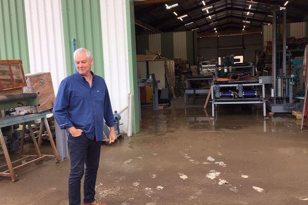 L'entreprise de Gilles Brun, au fond d'un coteau, à nouveau victime d'une coulée de boue à Coursac