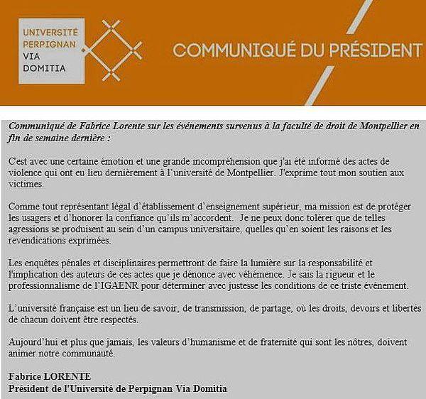 """Le président de l'université de Perpignan Via Domitia insiste sur la nécessité de """"faire la lumière sur la responsabilité et l'implications des auteurs de ces actes"""""""