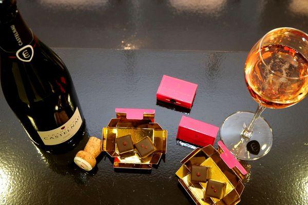 Du champagne rosé de la maison Castelnau et des chocolats au piment d'espelette du maître-chocolatier Emmanuel Briet d'Epernay (22 mars 2018) / François Nascimbeni