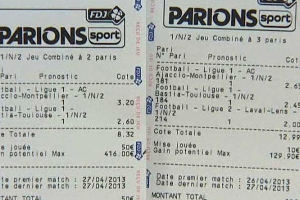 Sur ces deux tickets, la cote de la discorde : le 25 avril, avant-veille du match ACA - Montpellier, la victoire d'Ajaccio est cotée à  3,2. Le lendemain, elle a chuté à 2-65. Une véritable dégringolade !