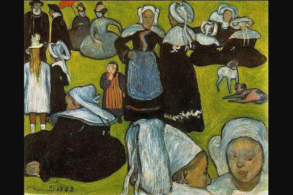 """Le tableau """"Les Bretonnes dans la prairie"""" ou le """"Pardon à Pont-Aven"""", du peintre post-expressionniste Emile Bernard, toile de 1888"""