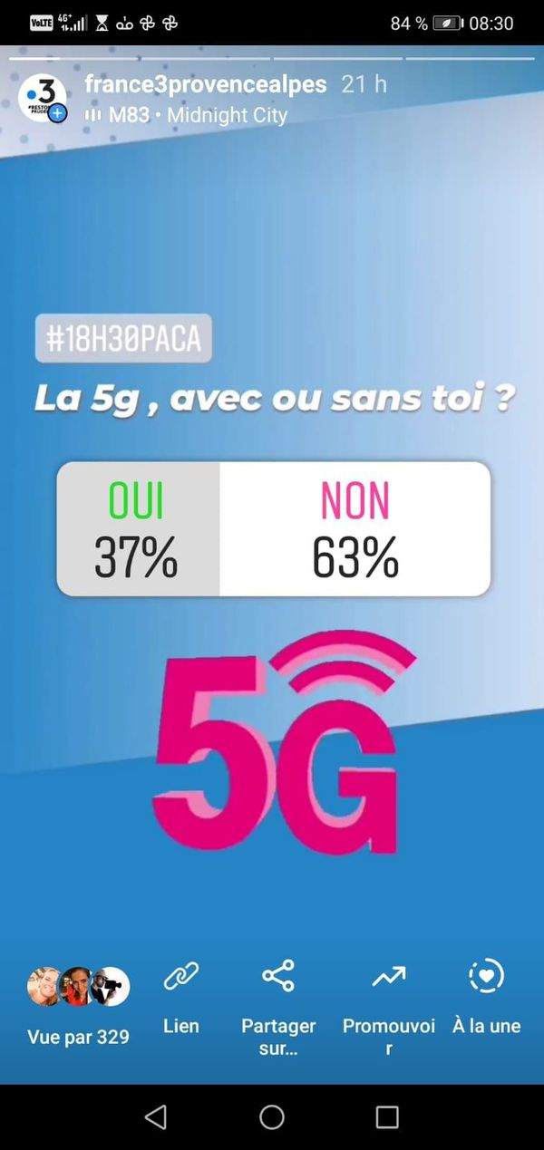 Sondage Insta pour ou contre la 5G.