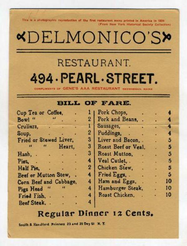 Reproduction du menu du Delmonico's de 1884 par la New York Historical Society Collection.