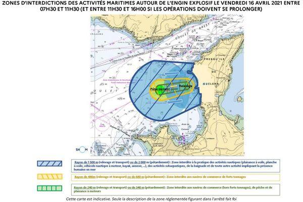 La carte des restrictions de navigation ce vendredi 16 avril matin dans l'anse de Camaret (Finistère)