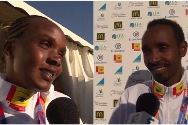 Susan Jeptooo et Tesfa Workneh, vainqueurs du marathon de La Rochelle 2017