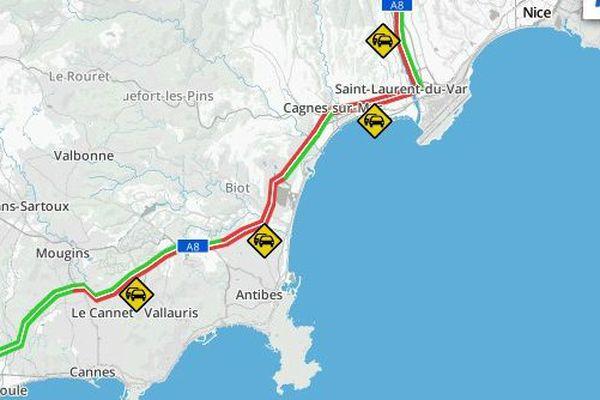 La circulation est paralysée ce jeudi matin entre Nice et Antibes