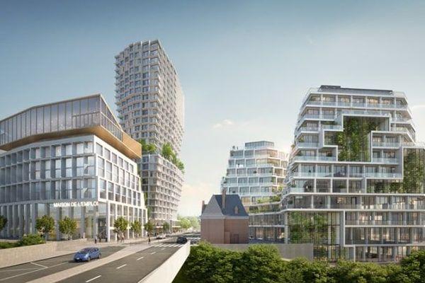 Dans le projet, quatre bâtiments sont prévus dont une tour de 26 étages