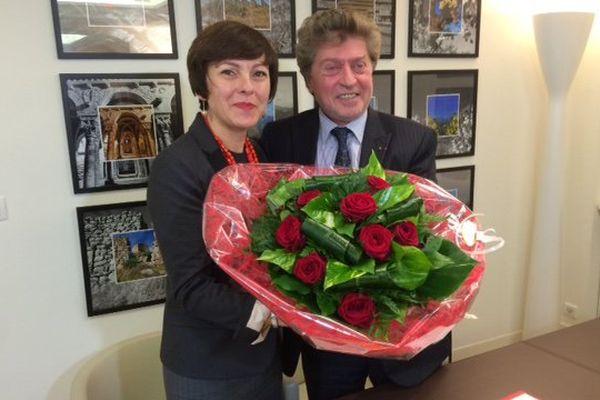 Carole Delga et Damien Alary à l'hôtel de région de Montpellier, mercredi 6 janvier 2016.
