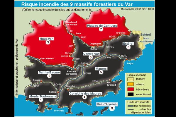 """Ce lundi 24 juillet est classé en risque incendie """"exceptionnel"""" dans le département du Var."""