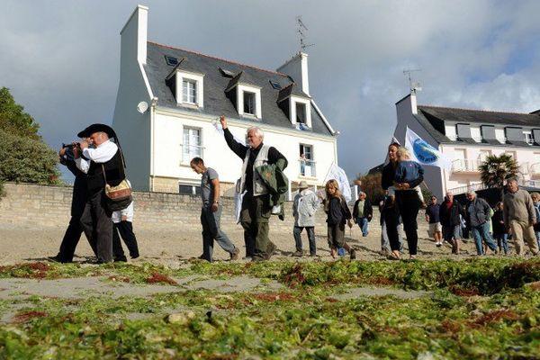 Manifestation contre la prolifération des algues vertes  à Fouesnant dans le Finistère en 2011.
