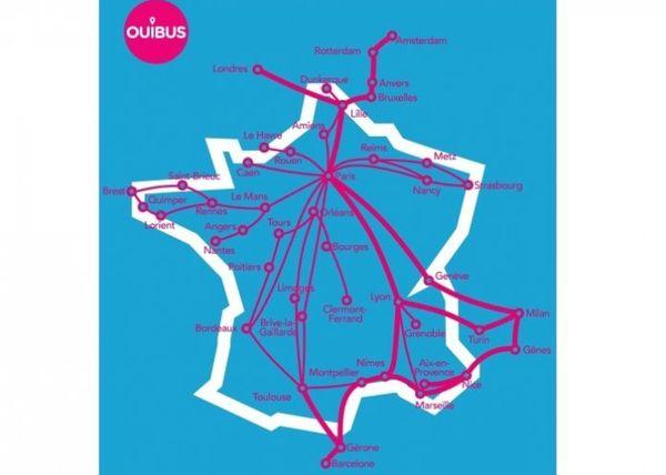 Les destinations des Ouibus en France