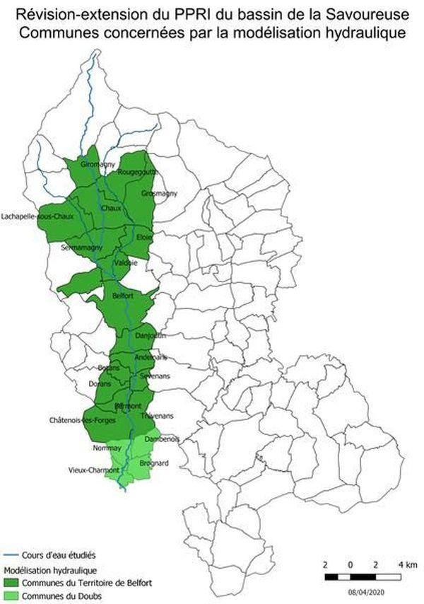 Les communes concernées par le Plan de prévention du risque inondation de la Savoureuse