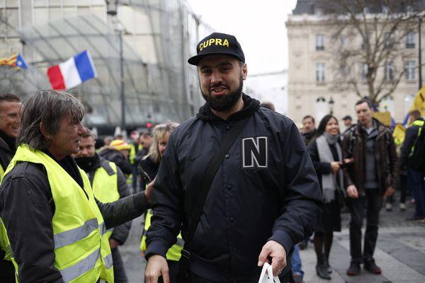 Eric Drouet, le samedi 2 mars à Paris, pour l'« acte 16 » des gilets jaunes à Paris.