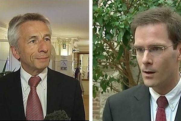 Laurent Beauvais, président du conseil régional de   Basse-Normandie et  Nicolas Mayer-Rossignol, président du conseil régional de Haute-Normandie