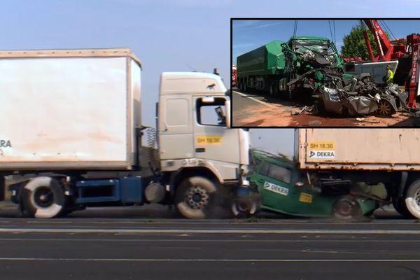 Une image tirée de la vidéo publiée par DEKRA. En médaillon, une image de l'accident publiée par les pompiers du Nord