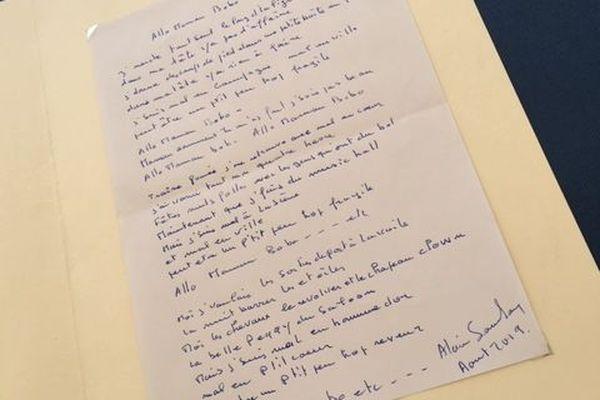 """Le texte de """"Allô Maman bobo"""", rédigé à nouveau par Alain Souchon en août 2019."""