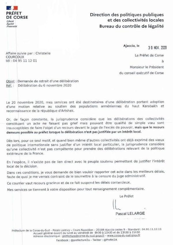 La lettre du préfet de Corse relative à la délibération n°20/179 de l'Assemblée de Corse, adressée à Gilles Simeoni le 30 novembre 2020.