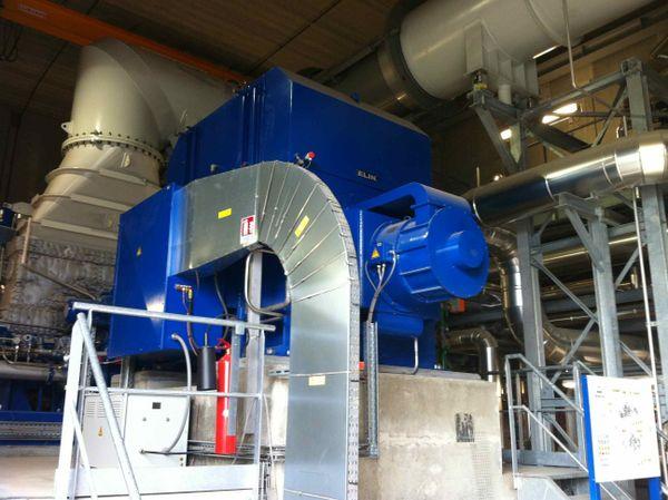 Une partie de la vapeur produite par la chaudière est convertie en électricité grâce à cette turbine. L'énergie produite est ensuite revendue à ERDF.
