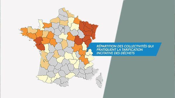 Plus le département tend vers le rouge, plus il possède de communes qui appliquent la tarification incitative des déchets.