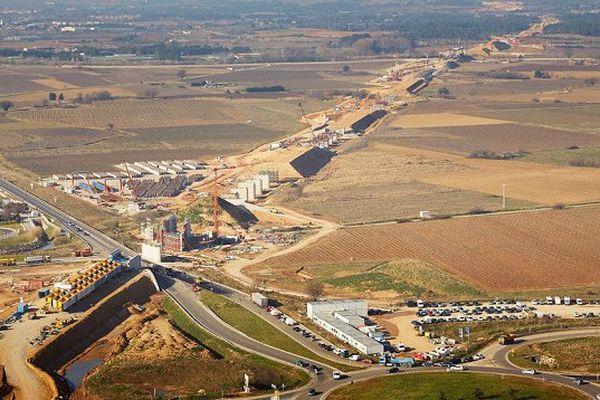 Futur viaduc de la RN113 à Aimargues dans le Gard - février 2015