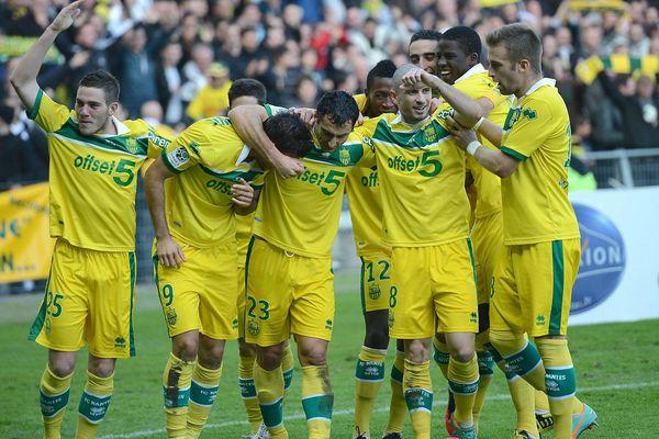 Les Canaries après leur victoire face à Angers à la Beaujoire